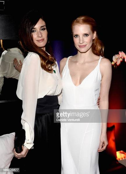 Actors Paz Vega and Jessica Chastain attend the 'Cleopatra' cocktail hosted by Bulgari during The 66th Annual Cannes Film Festival at JW Marriott on...