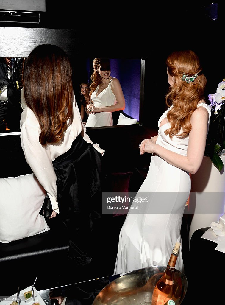 Actors Paz Vega and Jessica Chastain attend the 'Cleopatra' cocktail hosted by Bulgari during The 66th Annual Cannes Film Festival at JW Marriott on May 21, 2013 in Cannes, France.