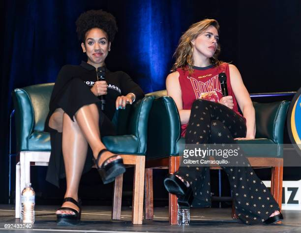 Actors Pearl Mackie and Billie Piper attend Wizard World Comic Con Philadelphia 2017 Day 4 at Pennsylvania Convention Center on June 4 2017 in...
