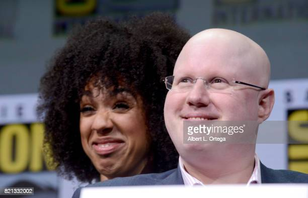 Actors Pearl Mackie and Matt Lucas at 'Doctor Who' BBC America official panel during ComicCon International 2017 at San Diego Convention Center on...