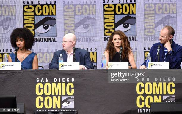 Actors Pearl Mackie Matt Lucas Michelle Gomez and Mark Gatiss speak onstage at the 'Doctor Who' BBC America official panel during ComicCon...
