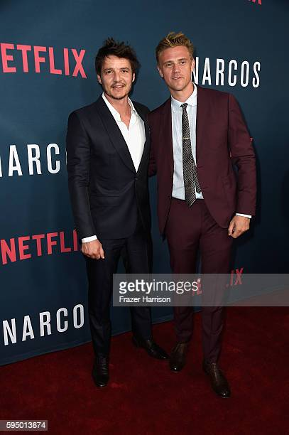 Actors Pedro Pascal and Boyd Holbrook attend the Premiere of Netflix's 'Narcos' Season 2 at ArcLight Cinemas on August 24 2016 in Hollywood California