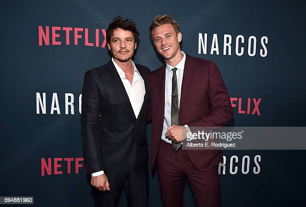Actors Pedro Pascal and Boyd Holbrook attend the Season 2 premiere of Netflix's 'Narcos' at ArcLight Cinemas on August 24 2016 in Hollywood California