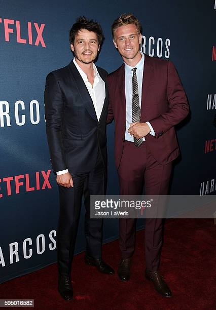 Actors Pedro Pascal and Boyd Holbrook attend the season 2 premiere of 'Narcos' at ArcLight Cinemas on August 24 2016 in Hollywood California