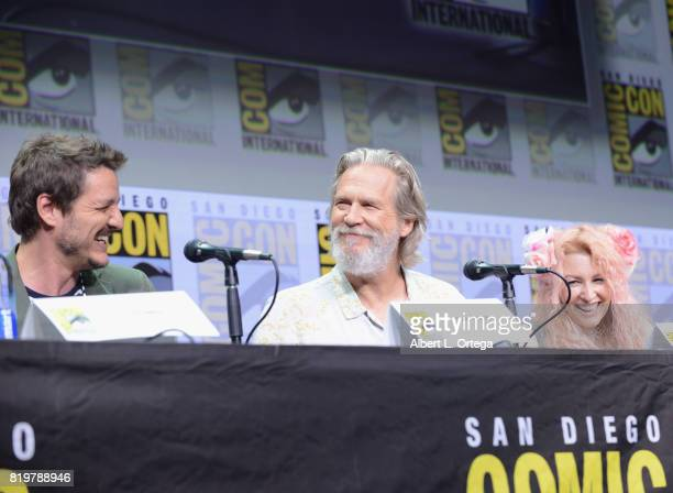 Actors Pedro Pascal and Jeff Bridges and screenwriter Jane Goldman speak onstage at the 20th Century FOX panel during ComicCon International 2017 at...