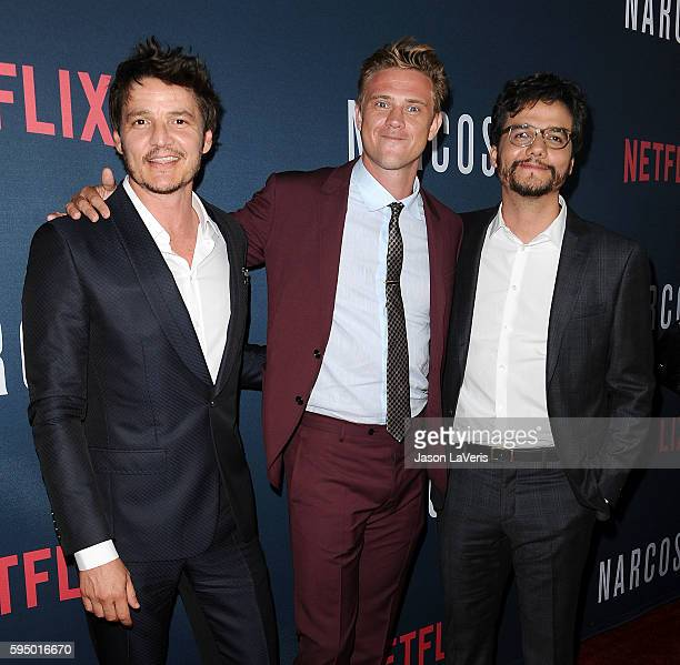 Actors Pedro Pascal Boyd Holbrook and Wagner Moura attend the season 2 premiere of 'Narcos' at ArcLight Cinemas on August 24 2016 in Hollywood...
