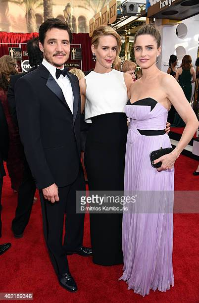 Actors Pedro Pascal Sarah Paulson and Amanda Peet attend TNT's 21st Annual Screen Actors Guild Awards at The Shrine Auditorium on January 25 2015 in...