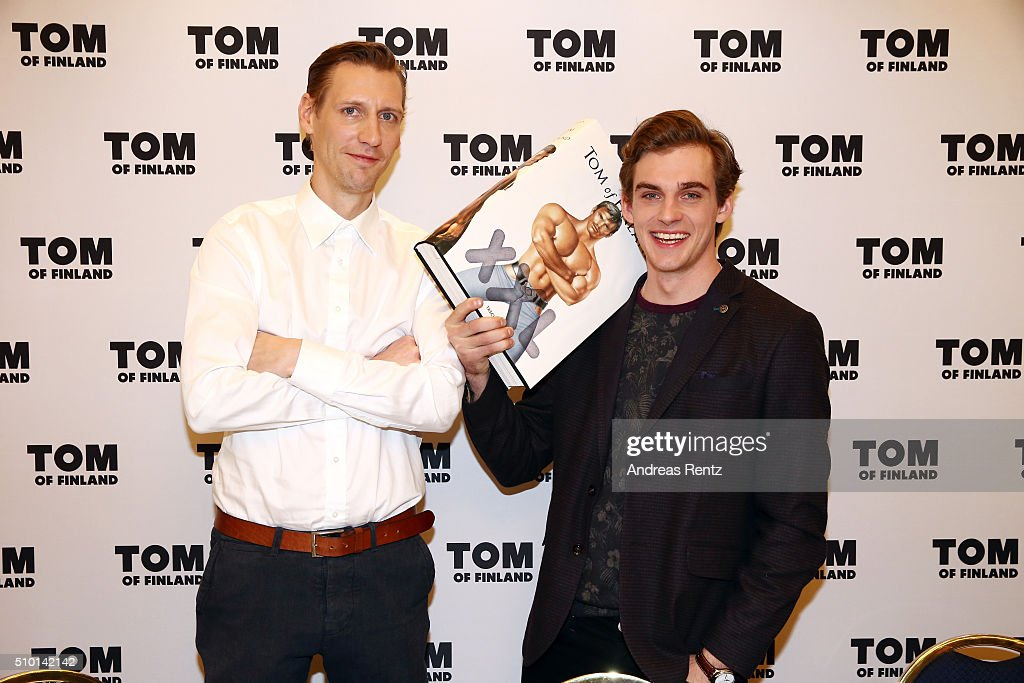 Actors Pekka Strang and Lauri Tilkanen attend the 'Tom of Finland' press conference during the 66th Berlinale International Film Festival Berlin at Ritz Carlton on February 14, 2016 in Berlin, Germany.