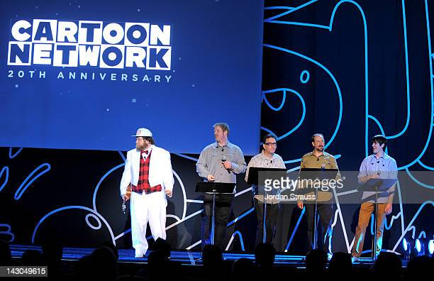 Actors Pendleton Ward John DiMaggio Tom Kenny Bill Salyers and JG Quintel speak onstage during Cartoon Network Upfront 2012 at Skirball Cultural...