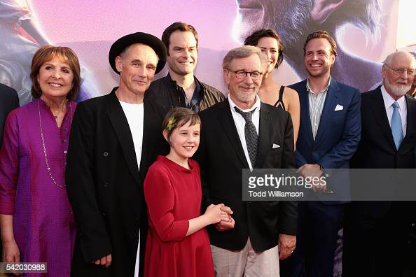 Actors Penelope Wilton Mark Rylance Ruby Barnhill Bill Hader director/producer Steven Spielberg actors Rebecca Hall Rafe Spall and composer John...
