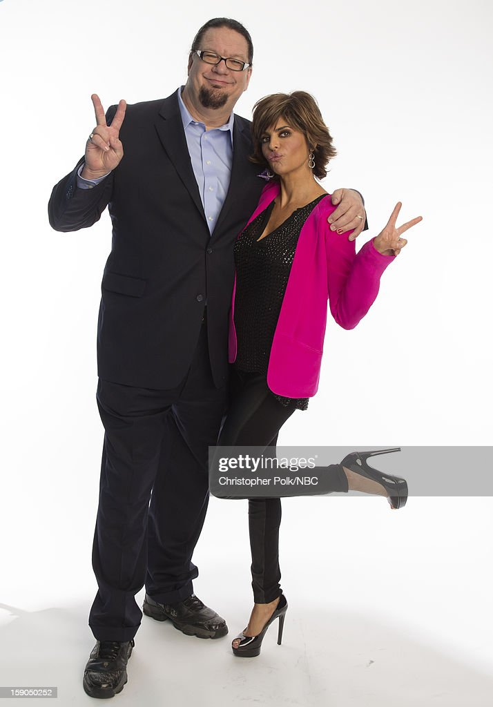 Actors Penn Jillette and Lisa Rinna attend the NBCUniversal 2013 TCA Winter Press Tour at The Langham Huntington Hotel and Spa on January 6, 2013 in Pasadena, California.