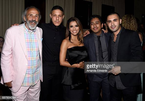 Actors Pepe Serna Theo Rossi Eva Longoria Tony Revolori and Gabriel Chavarria attend the after party for the premiere of 'Lowriders' during opening...