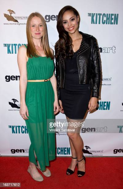 Actors Pepper Binkley and Amber Stevens attend the Los Angeles premiere of 'The Kitchen' at Laemmle NoHo 7 on March 14 2013 in North Hollywood...