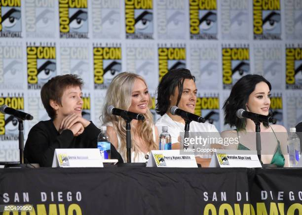 Actors Percy Hynes White Natalie Alyn Lind Blair Redford and Emma Dumont speak onstage at ComicCon International 2017 'The Gifted' Extended Sneak...