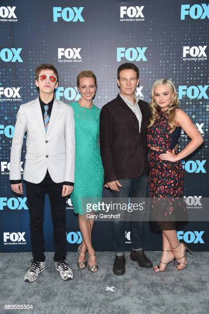Actors Percy Hynes White Stephen Moyer Amy Acker and Natalie Alyn Lin of the show 'The Gifted' attend the FOX Upfront on May 15 2017 in New York City
