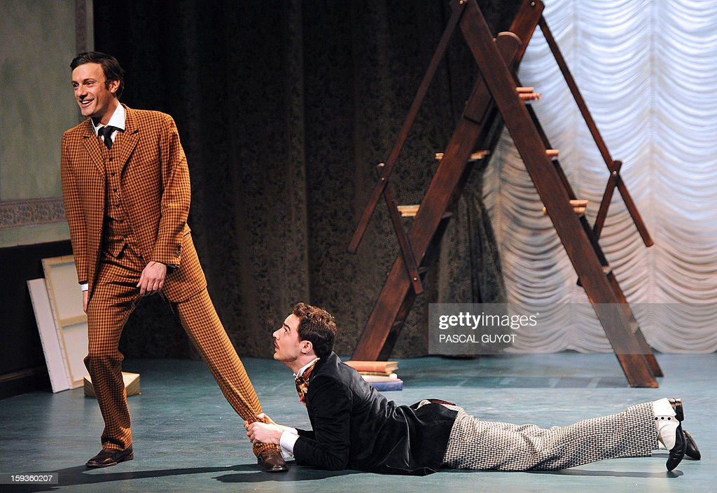 ZAKA - Actors perform during a rehearsal of the play 'L'importance d'etre serieux' (Importance of being serious) based on a novel by Irish writer Oscar Wilde directed by Gilbert Desveaux on January 11, 2012 Grammont theatre in Montpellier, southern France. AFP PHOTO / PASCAL GUYOT