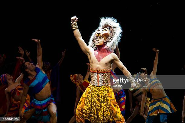 Actors perform during the presentation of The Lion King The Musical at Telcel Theatre on April 27 2015 in Mexico City Mexico