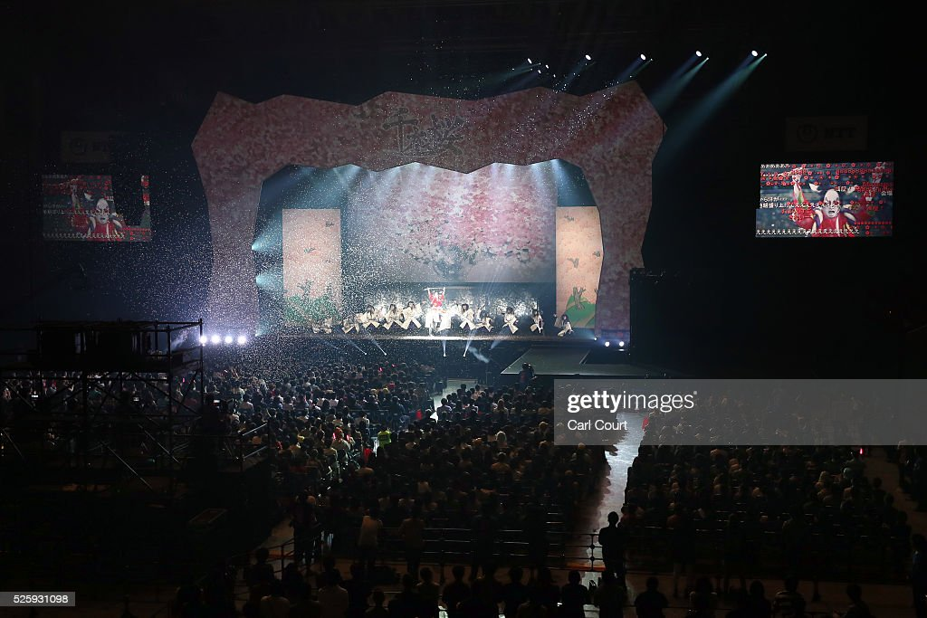 Actors perform in the kabuki theatre show 'Hanakurabe Senbonzakura' on April 29, 2016 in Tokyo, Japan. The latest digital technology kabuki theatre piece 'Hanakurabe Senbonzakura' is part of the Niconico Chokaigi festival in Tokyo. The festival was organized by video website Niconico, combining Kabuki, a traditional Japanese theater art and cutting edge animation technology, co-starring kabuki superstar Shidou Nakamura and the popular virtual idol Hatsune Miku.