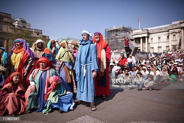 Actors perform 'The Passion of Jesus' to crowds in Trafalgar Square on April 22 2011 in London England The actors come from the Wintershall Estate in...