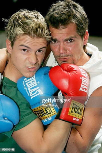 Actors Pete Dwojak and Daniel Fehlow pose at a photocall on the set of the German television series 'Gute Zeiten Schlechte Zeiten' on June 2 2005 in...