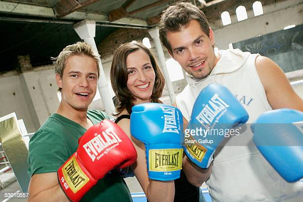Actors Pete Dwojak Ulrike Frank and Daniel Fehlow pose at a photocall on the set of the German television series 'Gute Zeiten Schlechte Zeiten' June...