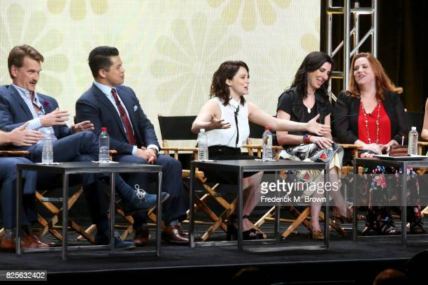Actors Pete Gardner and Vincent Rodriguez III actor/executive producer Rachel Bloom executive producer Aline Brosh McKenna and actor Donna Lynne...