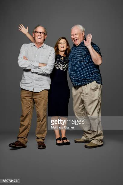 Actors Peter Davison Sophie Aldred and Colin Baker from Doctor Who are photographed for Entertainment Weekly Magazine on July 20 2017 at Comic Con in...