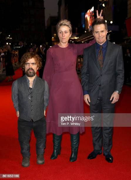 Actors Peter Dinklage Frances McDormand and Sam Rockwell attend the UK Premiere of 'Three Billboards Outside Ebbing Missouri' at the Closing Night...