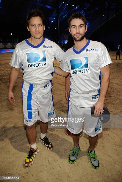 Actors Peter Facinelli and Chase Crawford attend DIRECTV'S 7th annual celebrity Beach Bowl at DTV SuperFan Stadium at Mardi Gras World on February 2...