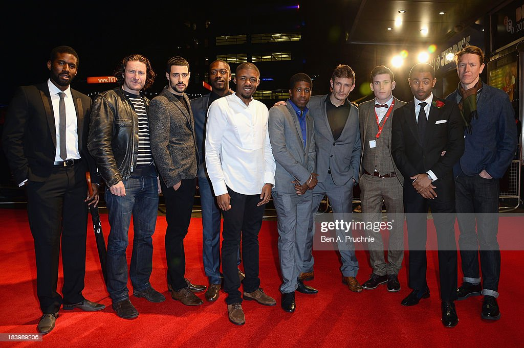 Actors Peter Ferdinando, David Avery, David Ajala, Ashley Chin, guest, Frederick Schmidt, Tommy McDonell, Anthony Welsh and Sam Spruell attend a screening of 'Starred Up' during the 57th BFI London Film Festival at Odeon West End on October 10, 2013 in London, England.