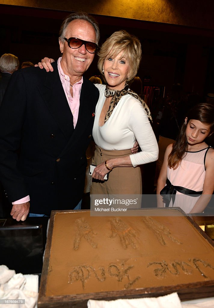 Actors <a gi-track='captionPersonalityLinkClicked' href=/galleries/search?phrase=Peter+Fonda&family=editorial&specificpeople=213498 ng-click='$event.stopPropagation()'>Peter Fonda</a> and <a gi-track='captionPersonalityLinkClicked' href=/galleries/search?phrase=Jane+Fonda&family=editorial&specificpeople=202174 ng-click='$event.stopPropagation()'>Jane Fonda</a> attend actress <a gi-track='captionPersonalityLinkClicked' href=/galleries/search?phrase=Jane+Fonda&family=editorial&specificpeople=202174 ng-click='$event.stopPropagation()'>Jane Fonda</a>'s Handprint/Footprint Ceremony during the 2013 TCM Classic Film Festival at TCL Chinese Theatre on April 27, 2013 in Los Angeles, California. 23632_009_MB_0456.JPG