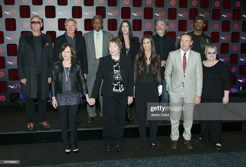 Actors <a gi-track='captionPersonalityLinkClicked' href=/galleries/search?phrase=Peter+Fonda&family=editorial&specificpeople=213498 ng-click='$event.stopPropagation()'>Peter Fonda</a>, <a gi-track='captionPersonalityLinkClicked' href=/galleries/search?phrase=Harrison+Ford+-+Ator+-+Nascido+em+1942&family=editorial&specificpeople=11508906 ng-click='$event.stopPropagation()'>Harrison Ford</a>, <a gi-track='captionPersonalityLinkClicked' href=/galleries/search?phrase=Sidney+Poitier&family=editorial&specificpeople=94086 ng-click='$event.stopPropagation()'>Sidney Poitier</a>, Cher, <a gi-track='captionPersonalityLinkClicked' href=/galleries/search?phrase=Kurt+Russell&family=editorial&specificpeople=206294 ng-click='$event.stopPropagation()'>Kurt Russell</a>, <a gi-track='captionPersonalityLinkClicked' href=/galleries/search?phrase=Samuel+L.+Jackson&family=editorial&specificpeople=167234 ng-click='$event.stopPropagation()'>Samuel L. Jackson</a>, (Bottom L-R) <a gi-track='captionPersonalityLinkClicked' href=/galleries/search?phrase=Sally+Field&family=editorial&specificpeople=206350 ng-click='$event.stopPropagation()'>Sally Field</a>, <a gi-track='captionPersonalityLinkClicked' href=/galleries/search?phrase=Shirley+MacLaine&family=editorial&specificpeople=204788 ng-click='$event.stopPropagation()'>Shirley MacLaine</a>, <a gi-track='captionPersonalityLinkClicked' href=/galleries/search?phrase=Demi+Moore&family=editorial&specificpeople=202121 ng-click='$event.stopPropagation()'>Demi Moore</a>, <a gi-track='captionPersonalityLinkClicked' href=/galleries/search?phrase=Kevin+Spacey&family=editorial&specificpeople=202091 ng-click='$event.stopPropagation()'>Kevin Spacey</a> and <a gi-track='captionPersonalityLinkClicked' href=/galleries/search?phrase=Kathy+Bates+-+Atriz&family=editorial&specificpeople=171565 ng-click='$event.stopPropagation()'>Kathy Bates</a> attend Target Presents AFI's Night at the Movies at ArcLight Cinemas on April 24, 2013 in Hollywood, California.