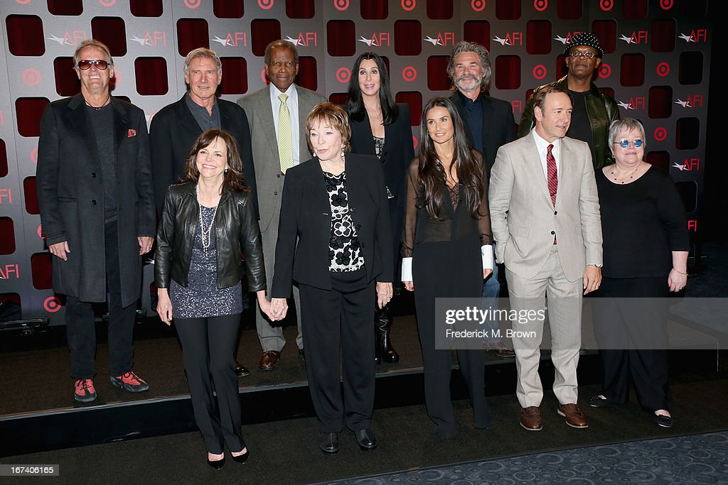 Actors <a gi-track='captionPersonalityLinkClicked' href=/galleries/search?phrase=Peter+Fonda&family=editorial&specificpeople=213498 ng-click='$event.stopPropagation()'>Peter Fonda</a>, <a gi-track='captionPersonalityLinkClicked' href=/galleries/search?phrase=Harrison+Ford+-+Actor+-+Born+1942&family=editorial&specificpeople=11508906 ng-click='$event.stopPropagation()'>Harrison Ford</a>, <a gi-track='captionPersonalityLinkClicked' href=/galleries/search?phrase=Sidney+Poitier&family=editorial&specificpeople=94086 ng-click='$event.stopPropagation()'>Sidney Poitier</a>, Cher, <a gi-track='captionPersonalityLinkClicked' href=/galleries/search?phrase=Kurt+Russell&family=editorial&specificpeople=206294 ng-click='$event.stopPropagation()'>Kurt Russell</a>, <a gi-track='captionPersonalityLinkClicked' href=/galleries/search?phrase=Samuel+L.+Jackson&family=editorial&specificpeople=167234 ng-click='$event.stopPropagation()'>Samuel L. Jackson</a>, (Bottom L-R) <a gi-track='captionPersonalityLinkClicked' href=/galleries/search?phrase=Sally+Field&family=editorial&specificpeople=206350 ng-click='$event.stopPropagation()'>Sally Field</a>, <a gi-track='captionPersonalityLinkClicked' href=/galleries/search?phrase=Shirley+MacLaine&family=editorial&specificpeople=204788 ng-click='$event.stopPropagation()'>Shirley MacLaine</a>, <a gi-track='captionPersonalityLinkClicked' href=/galleries/search?phrase=Demi+Moore&family=editorial&specificpeople=202121 ng-click='$event.stopPropagation()'>Demi Moore</a>, <a gi-track='captionPersonalityLinkClicked' href=/galleries/search?phrase=Kevin+Spacey&family=editorial&specificpeople=202091 ng-click='$event.stopPropagation()'>Kevin Spacey</a> and <a gi-track='captionPersonalityLinkClicked' href=/galleries/search?phrase=Kathy+Bates+-+Actor&family=editorial&specificpeople=171565 ng-click='$event.stopPropagation()'>Kathy Bates</a> attend Target Presents AFI's Night at the Movies at ArcLight Cinemas on April 24, 2013 in Hollywood, California.