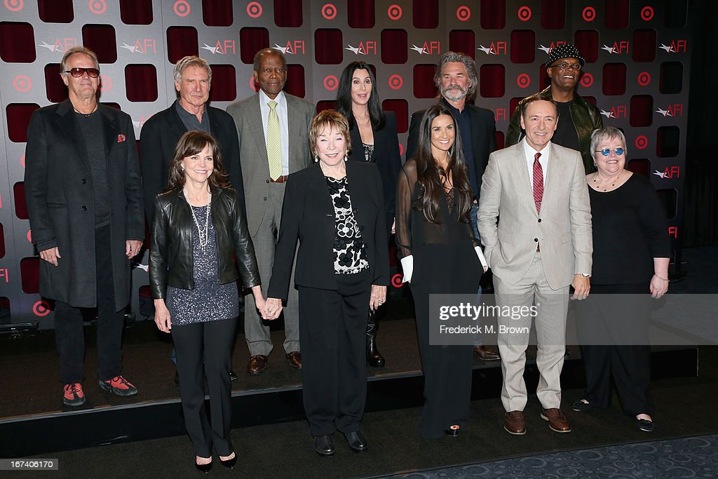 Actors <a gi-track='captionPersonalityLinkClicked' href=/galleries/search?phrase=Peter+Fonda&family=editorial&specificpeople=213498 ng-click='$event.stopPropagation()'>Peter Fonda</a>, <a gi-track='captionPersonalityLinkClicked' href=/galleries/search?phrase=Harrison+Ford+-+Sk%C3%A5despelare+-+F%C3%B6dd+1942&family=editorial&specificpeople=11508906 ng-click='$event.stopPropagation()'>Harrison Ford</a>, <a gi-track='captionPersonalityLinkClicked' href=/galleries/search?phrase=Sidney+Poitier&family=editorial&specificpeople=94086 ng-click='$event.stopPropagation()'>Sidney Poitier</a>, Cher, <a gi-track='captionPersonalityLinkClicked' href=/galleries/search?phrase=Kurt+Russell&family=editorial&specificpeople=206294 ng-click='$event.stopPropagation()'>Kurt Russell</a>, <a gi-track='captionPersonalityLinkClicked' href=/galleries/search?phrase=Samuel+L.+Jackson&family=editorial&specificpeople=167234 ng-click='$event.stopPropagation()'>Samuel L. Jackson</a>, (Bottom L-R) <a gi-track='captionPersonalityLinkClicked' href=/galleries/search?phrase=Sally+Field&family=editorial&specificpeople=206350 ng-click='$event.stopPropagation()'>Sally Field</a>, <a gi-track='captionPersonalityLinkClicked' href=/galleries/search?phrase=Shirley+MacLaine&family=editorial&specificpeople=204788 ng-click='$event.stopPropagation()'>Shirley MacLaine</a>, <a gi-track='captionPersonalityLinkClicked' href=/galleries/search?phrase=Demi+Moore&family=editorial&specificpeople=202121 ng-click='$event.stopPropagation()'>Demi Moore</a>, <a gi-track='captionPersonalityLinkClicked' href=/galleries/search?phrase=Kevin+Spacey&family=editorial&specificpeople=202091 ng-click='$event.stopPropagation()'>Kevin Spacey</a> and <a gi-track='captionPersonalityLinkClicked' href=/galleries/search?phrase=Kathy+Bates+-+Sk%C3%A5despelerska&family=editorial&specificpeople=171565 ng-click='$event.stopPropagation()'>Kathy Bates</a> attend Target Presents AFI's Night at the Movies at ArcLight Cinemas on April 24, 2013 in Hollywood, California.