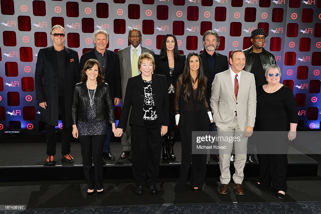 Actors <a gi-track='captionPersonalityLinkClicked' href=/galleries/search?phrase=Peter+Fonda&family=editorial&specificpeople=213498 ng-click='$event.stopPropagation()'>Peter Fonda</a>, <a gi-track='captionPersonalityLinkClicked' href=/galleries/search?phrase=Harrison+Ford+-+Schauspieler+-+Jahrgang+1942&family=editorial&specificpeople=11508906 ng-click='$event.stopPropagation()'>Harrison Ford</a>, <a gi-track='captionPersonalityLinkClicked' href=/galleries/search?phrase=Sidney+Poitier&family=editorial&specificpeople=94086 ng-click='$event.stopPropagation()'>Sidney Poitier</a>, Cher, <a gi-track='captionPersonalityLinkClicked' href=/galleries/search?phrase=Kurt+Russell&family=editorial&specificpeople=206294 ng-click='$event.stopPropagation()'>Kurt Russell</a>, <a gi-track='captionPersonalityLinkClicked' href=/galleries/search?phrase=Samuel+L.+Jackson&family=editorial&specificpeople=167234 ng-click='$event.stopPropagation()'>Samuel L. Jackson</a>, (Bottom L-R) <a gi-track='captionPersonalityLinkClicked' href=/galleries/search?phrase=Sally+Field&family=editorial&specificpeople=206350 ng-click='$event.stopPropagation()'>Sally Field</a>, Shirley MacLaine, <a gi-track='captionPersonalityLinkClicked' href=/galleries/search?phrase=Demi+Moore&family=editorial&specificpeople=202121 ng-click='$event.stopPropagation()'>Demi Moore</a>, <a gi-track='captionPersonalityLinkClicked' href=/galleries/search?phrase=Kevin+Spacey&family=editorial&specificpeople=202091 ng-click='$event.stopPropagation()'>Kevin Spacey</a> and <a gi-track='captionPersonalityLinkClicked' href=/galleries/search?phrase=Kathy+Bates+-+Schauspielerin&family=editorial&specificpeople=171565 ng-click='$event.stopPropagation()'>Kathy Bates</a> attend Target Presents AFI's Night at the Movies at ArcLight Cinemas on April 24, 2013 in Hollywood, California.