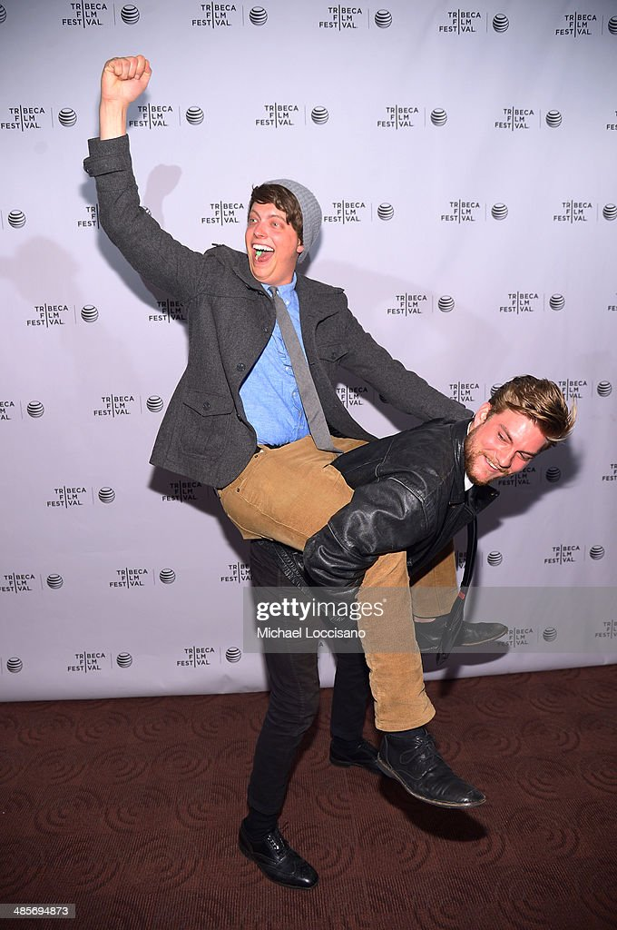Actors Peter Gilroy (L) and Jake Weary attend the 'Zombeavers' Premiere during the 2014 Tribeca Film Festival at Chelsea Bow Tie Cinemas on April 19, 2014 in New York City.