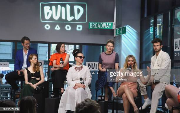 Actors Peter Hermann Molly Bernard Miriam Shor Debi Mazar Sutton Foster Hilary Duff and Nico Tortorella attend Build to discuss 'Younger' at Build...