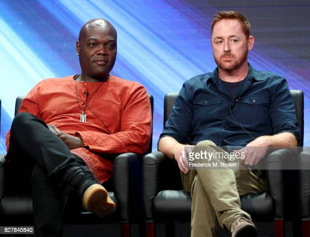 Actors Peter Macon and Scott Grimes of 'The Orville' speak onstage during the FOX portion of the 2017 Summer Television Critics Association Press...