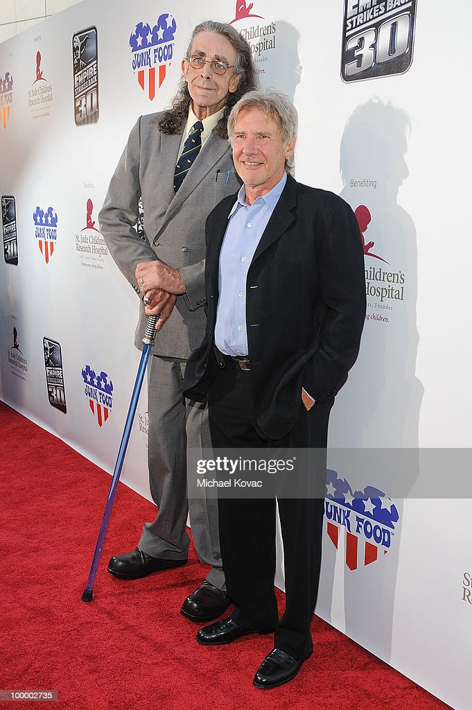 Actors Peter Mayhew (L) and Harrison Ford arrive at 'The Empire Strikes Back' 30th Anniversary Charity Screening Event at ArcLight Cinemas on May 19, 2010 in Hollywood, California.