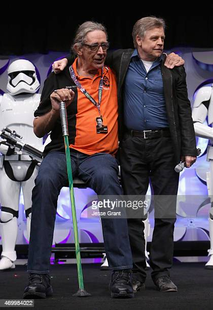 Actors Peter Mayhew and Mark Hamill speak onstage during Star Wars Celebration 2015 on April 16 2015 in Anaheim California