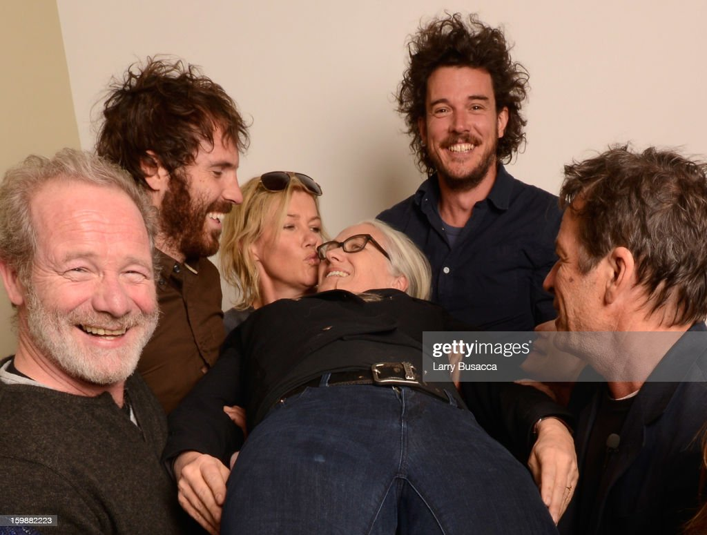 Actors <a gi-track='captionPersonalityLinkClicked' href=/galleries/search?phrase=Peter+Mullan&family=editorial&specificpeople=533010 ng-click='$event.stopPropagation()'>Peter Mullan</a> and Thomas M. Wright, Robin Malcolm, director/writer <a gi-track='captionPersonalityLinkClicked' href=/galleries/search?phrase=Jane+Campion&family=editorial&specificpeople=616530 ng-click='$event.stopPropagation()'>Jane Campion</a>, director Garth Davis, actress <a gi-track='captionPersonalityLinkClicked' href=/galleries/search?phrase=Holly+Hunter&family=editorial&specificpeople=201880 ng-click='$event.stopPropagation()'>Holly Hunter</a> amd writer Gerard Lee pose for a portrait during the 2013 Sundance Film Festival at the Getty Images Portrait Studio at Village at the Lift on January 19, 2013 in Park City, Utah.