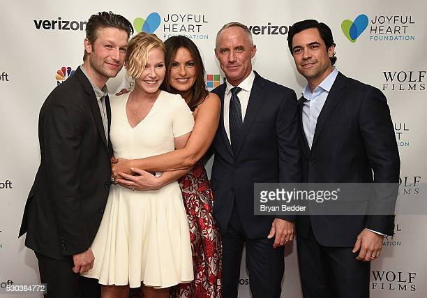 Actors Peter Scanavino Kelli Giddish Mariska Hargitay Robert John Burke and Danny Pino attend The Joyful Revolution Gala hosted by Mariska Hargitay's...