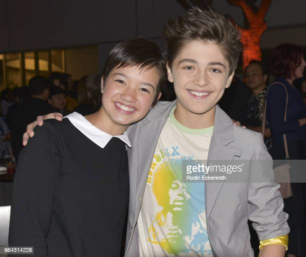 Actors Peyton Elizabeth Lee and Asher Angel attend premiere of Disneynature's 'Born In China' at Billy Wilder Theater on April 3 2017 in Los Angeles...