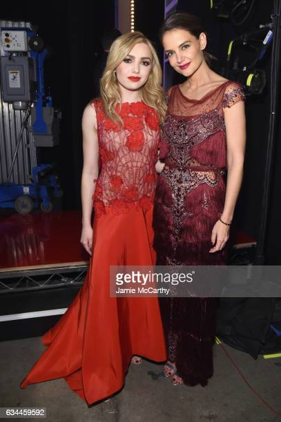 Actors Peyton List and Katie Holmes attend the American Heart Association's Go Red For Women Red Dress Collection 2017 presented by Macy's at Fashion...