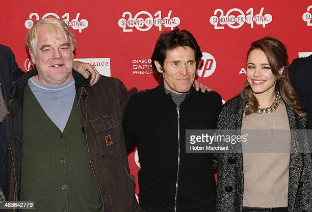 Actors Philip Seymour Hoffman Willem Dafoe and Rachel McAdams attend the premiere of 'A Most Wanted Man' at Eccles Center Theatre during the 2014...