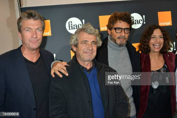 Actors Philippe Caroit Michel Boujenah Pascal Elbe and a guest attend the Cocktail Orange during the FIAC 2012 Opening at Le Grand Palais on October...