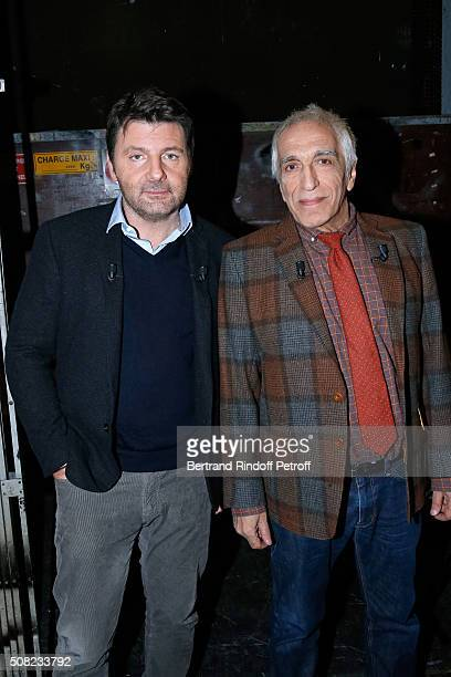 Actors Philippe Lellouche and Gerard Darmon present the Theater Play 'Tout a refaire' performed at Theatre de la Madeleine during the 'Vivement...