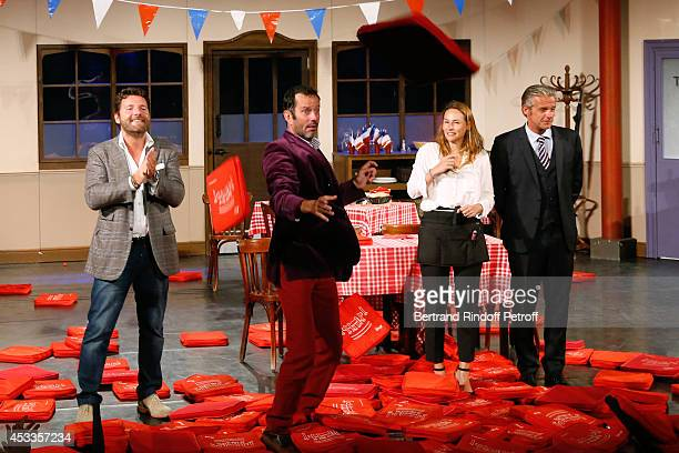 Actors Philippe Lellouche Christian Vadim Vanessa Demouy and David Brecourt during the traditional throw of cushions at the final of the 'L'appel de...