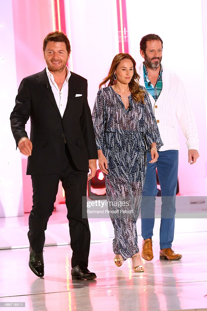 Actors Philippe Lellouche, his wife Vanessa Demouy and Christian Vadim present the theater play 'L'appel de Londres' at the 'Vivement Dimanche' French TV Show, held at Pavillon Gabriel on May 14, 2014 in Paris, France.