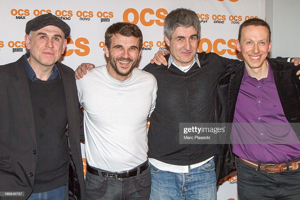 Actors Philippe Vieux, Sebastien Barrio, Alain Dion and guest attend the 'QI' Premiere at Forum Des Images on April 4, 2013 in Paris, France.